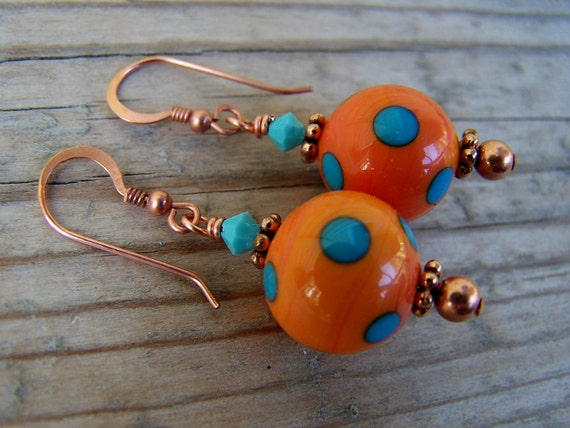 Copper Lampwork Swarovski Southwest Style Orange Earrings