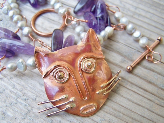 Copper Amethyst Pearl Wire Wrapped Kitty Necklace