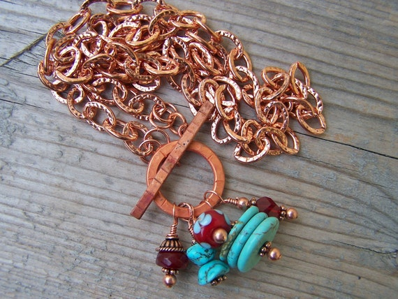 Copper Turquoise Lampwork Southwestern Style Necklace