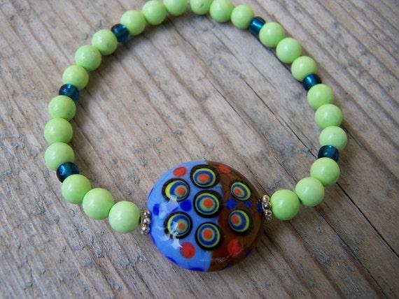 Green Turquoise Artisan Lampwork Stretchy Bracelet
