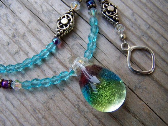 Glass Teardrop Crystal Czech Glass Blue Necklace