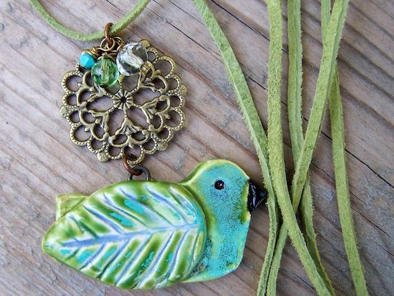 Ceramic Pottery Bird Brass Crystal Blue Green Necklace