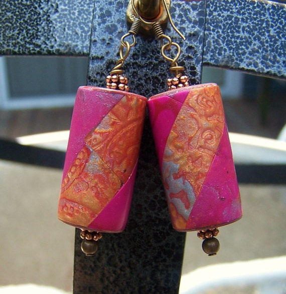 Polymer Clay Rustic Look Cylinder Earrings