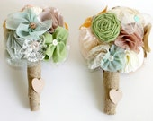 Custom Bridesmaid Bouquet- Shabby Chic- beautiful assorted handmade fabric flowers with rustic burlap