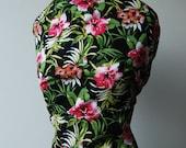"S A L E: Oleander Floral Print, thin cotton, black background,  3 yards x 56"" wide"
