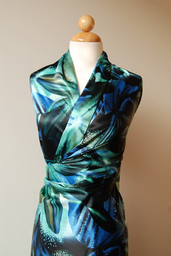 """S A L E : Evil Orchids solid synthetic satin fabric  - approx 2.5 yards at  60"""" wide - last piece"""