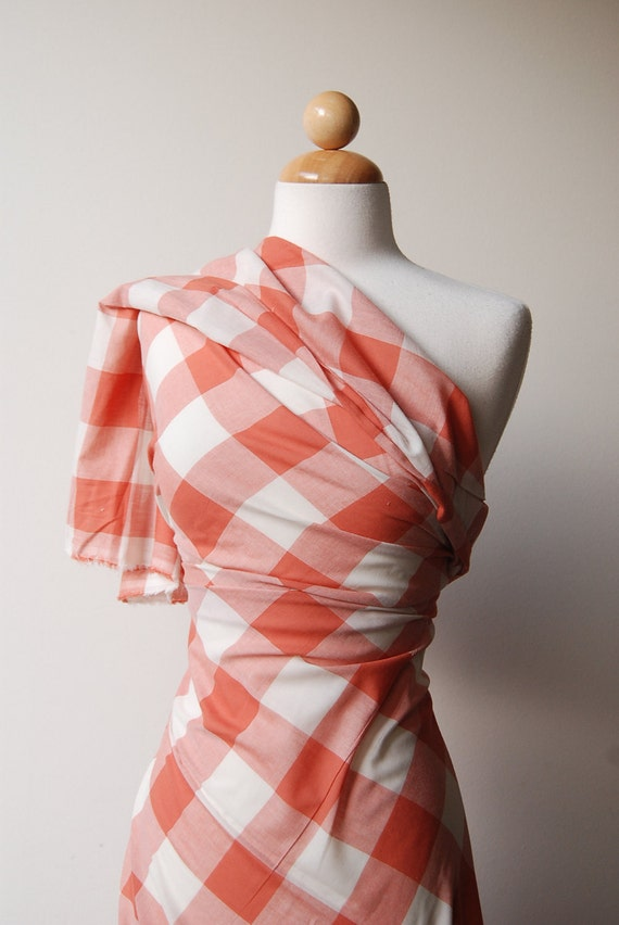"S A L E: Pale Brick red and off-white Plaid, light cotton,  4 yards at 58"" wide"