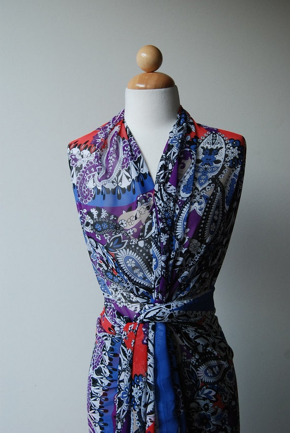 """S A L E: Purple, red and blue Geometrical Paisley Dance synthetic chiffon  - 3 Yards by 60"""" Wide (4094)"""