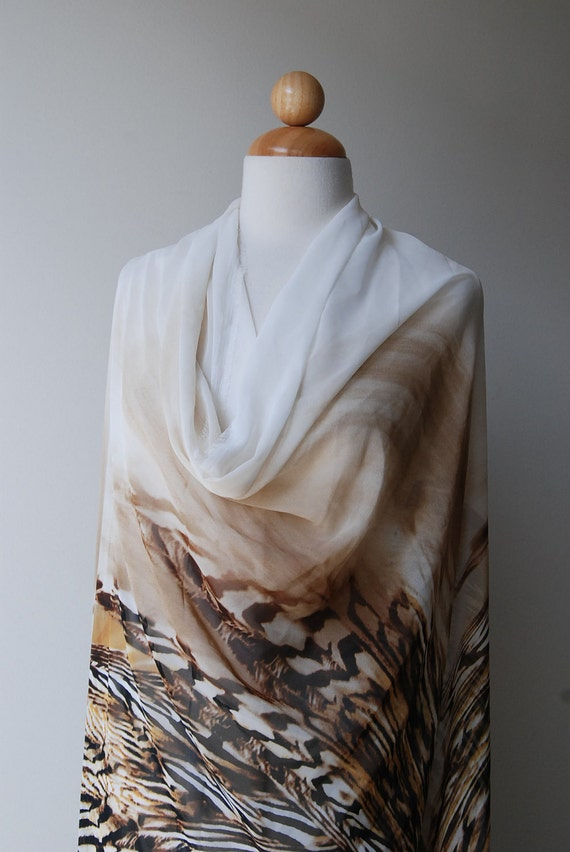 "Abstract Animal print Synthetic chiffon in taupe and coffee brown - 4.5 yards at  57"" wide"