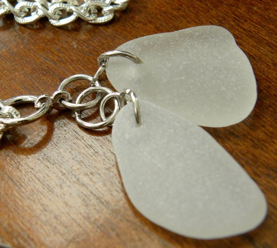 Sea glass pendant, double white frosty sea glass jewelry