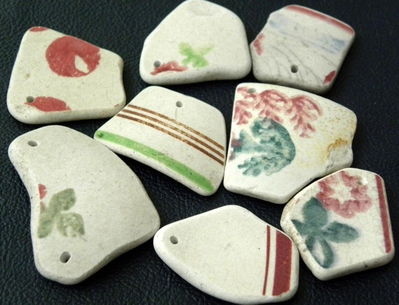 Large Scottish sea pottery pieces, drilled for jewelry in rose, green teal, blue, 8 pcs