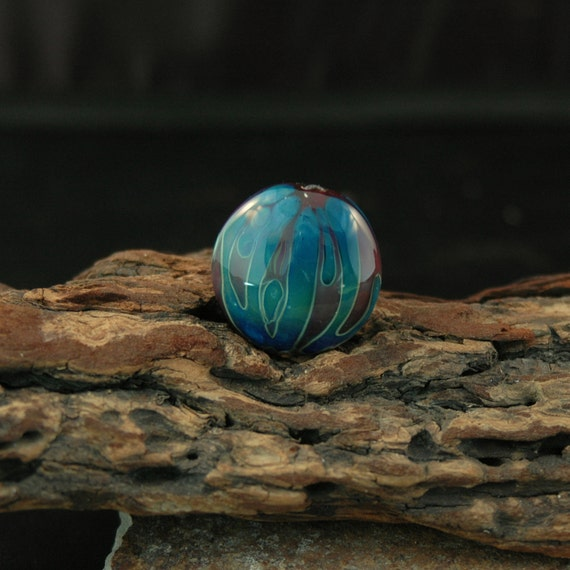 Red and Blue Flame Handmade Lampwork Focal Bead