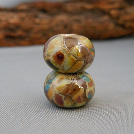 Organic With Fine Silver Earring Pair Handmade Lampwork Glass Beads SRA