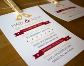 Wedding Invitation - yellow love birds with hearts and red ribbon in fun and quirky design