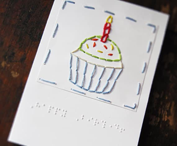 Braille Happy Birthday Cupcake Card Visually Impaired
