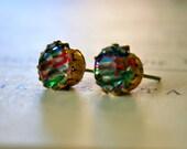 Vintage 1950's German Glass Jewel Earrings in Rainbow Iris, Round Brass Settings, Kate Earrings, Gift Under 20