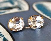 White Diamond Crystals in Brass, Bridal Jewelry, Stud Earrings, Petite Oval Crystals