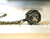 Round Black Diamond Swarovski Crystal Necklace, Oxidized Brass, Dentelle, Sparkle, Glamorous, Smoky Gray, Pantone