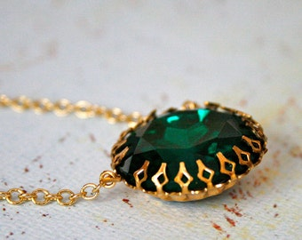 Emerald Days Necklace || Vintage Glass Necklace, Kings Crown Setting, Green Statement Necklace, Gold Necklace, Large Pendant Necklace