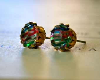 Vintage 1950's German Glass Jewel Earrings in Rainbow Iris || Round Brass Settings, Crystal Earrings, Vintage Earrings, Round Stud Earrings