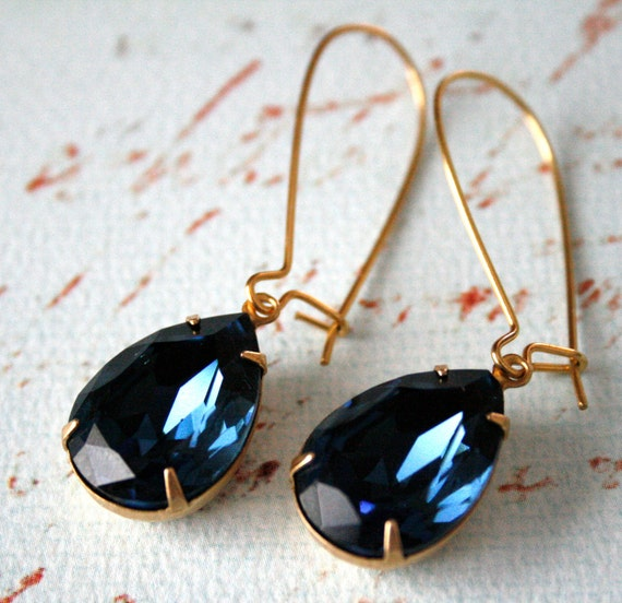 Large Montana Swarovski Crystals in Brass, Dark Blue, Bridal, Hollywood Glamour