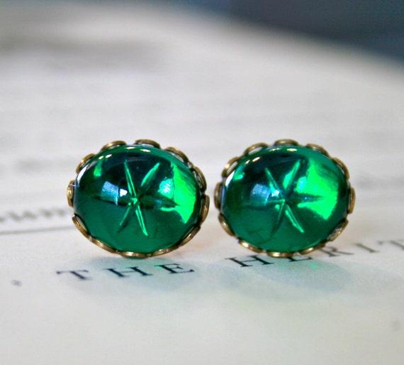 Vintage Swarovski Emerald Star Glass Cabochon Earrings, Lace Edge Setting, Jewel Tone, Pop of Color