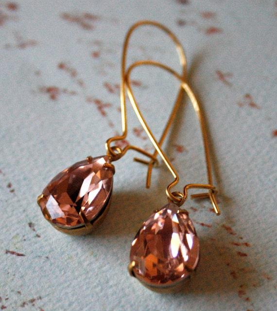 Vintage Rose Crystal Earrings in Brass, Pear Shaped Crystals, Kidney Ear Wires, Bridesmaid Jewelry, Lightweight Earrings