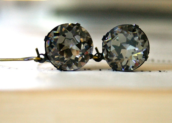 Round Black Diamond Swarovski Crystal Earrings, Oxidized Brass, Kidney Ear Wires, Estate Style, Pantone Titanium