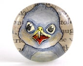 BABY EAGLE hand painted glass gem magnet with vintage text