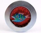 FISH hand painted bottle cap magnet