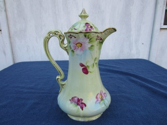 Large Lidded Porcelain Pitcher, Hand Painted, Floral Pattern with Gold Trim, Gorgeous Item