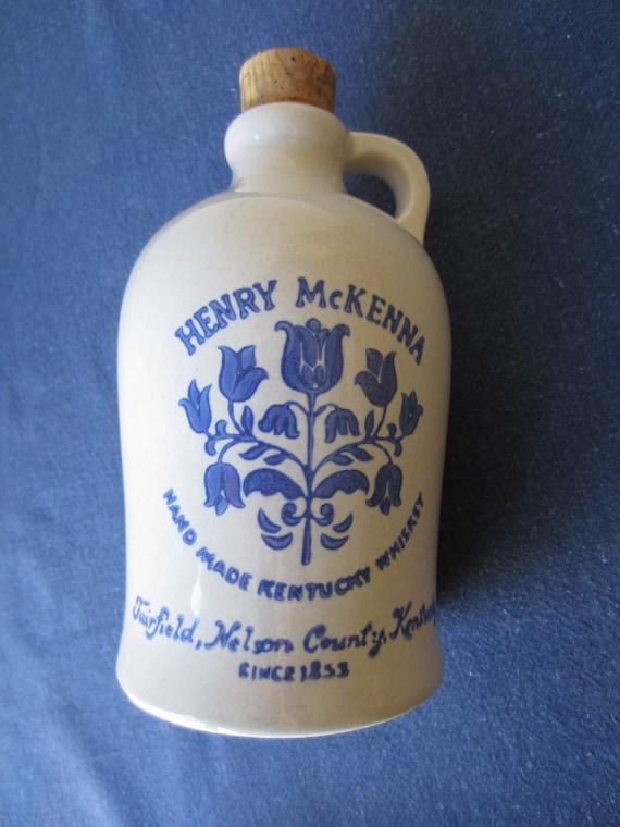 Gorgeous Henry McKenna Kentucky Whiskey Crock, 4/5th Quart, Empty with Cork