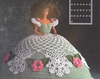 Annie's Attic Crochet Bed Doll Pattern March 1991 Barbie Doll Antebellum Dress