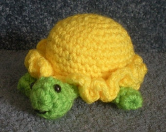 Made to order, Hand Crocheted Turtle You choose the colors