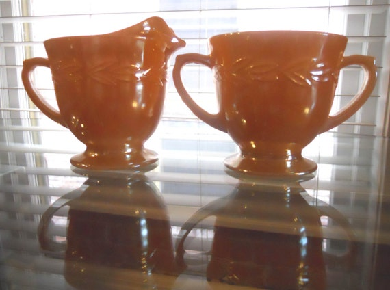 Vintage Fire King Peach Luster Sugar & Creamer Set