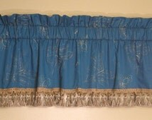 Teal & Gold Embroidered Cotton Silk Lined Valance