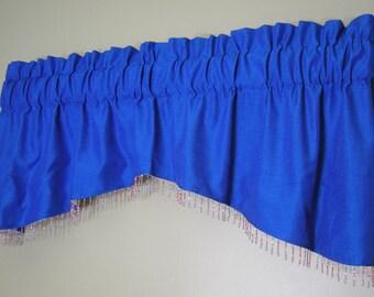 Silky Royal Blue Window Valance Beaded Fringe Trim