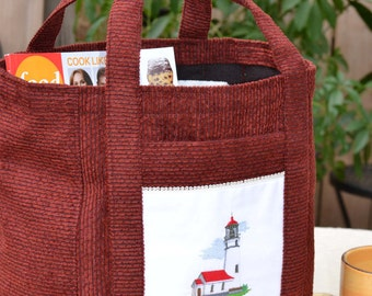Deep Red Embroidered Lighthouse Tote Bag