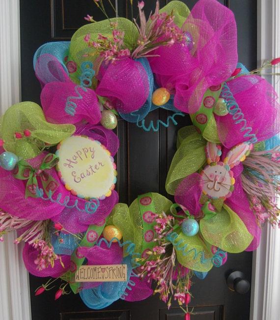 Happy Easter Wreath Springtime Bunny Deco Mesh
