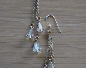 Vintage Silver Chain and Crystal Dangle Earrings Culturequeen