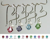 Sale-Heart Wire Pearl Charmed Swarovski Crystal Earrings In Your Choice Of Crystal Color
