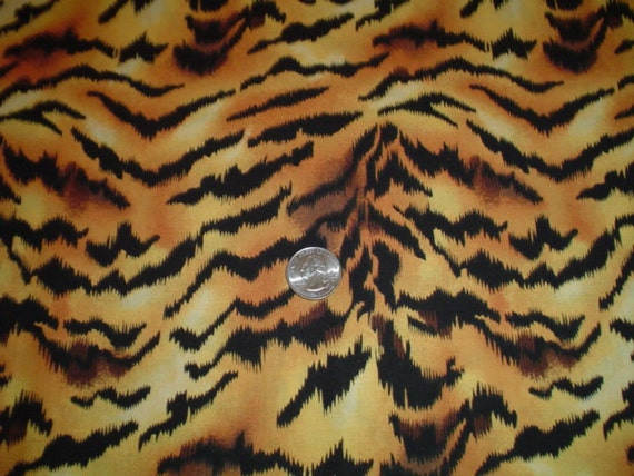 Black and Gold Cotton Tiger Striped Printed Fabric-1 yard
