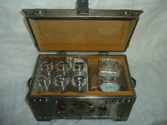 Vintage Decanter with 6 Shot Glasses and  Brass Chest