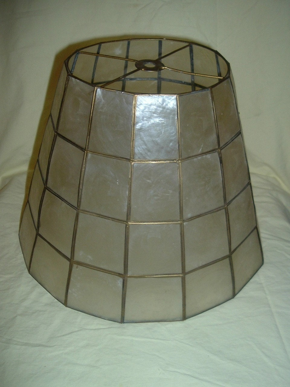 mother of pearl lamp shade 9 inches ht by vintageglobal