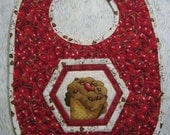 Gift  Bib Boy Girl Red Cherries Bib Waterproof Quilted Large FREE GIFT WRAP
