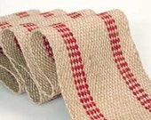 "Red/Natural Jute Webbing   5 yards   3.5"" Inches Wide  11 lbs.  jute webbing"
