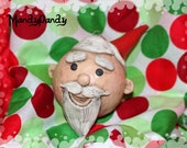 Santa Clause Rudolph glass clay Christmas tree ornament FREE shipping hand sculpted