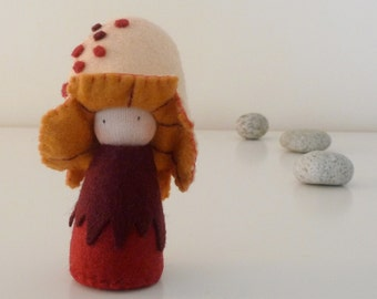 Mushroom Felt Pocket Doll, Organic kid's toy, Eco Friendlly toy, Handmade doll - Nedu
