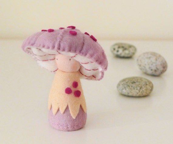 Handmade Waldorf Doll, pocket doll, Toadstool, Creative playthings, Imaginative play - Rosepe