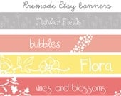 Premade Etsy Shop Banners - grey and white flower field, light pink, coral, bubbles, yellow flower vine, pink red vines